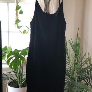 Black Side Lace-Up Ribbed Mini Dress